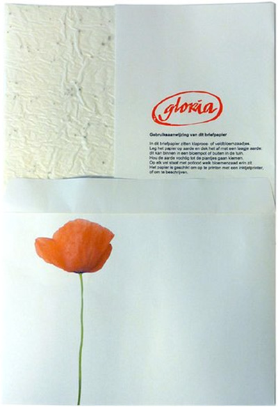 Briefpapier met zaadjes